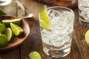 alcol alcolici gin toni bicchiere con ghiaccio fettine di lime