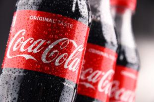 Bottles of carbonated soft drink Coca-Cola