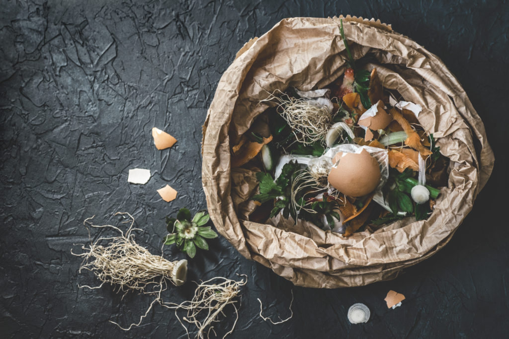 Garbage sorting. Organic food waste from vegetable ready for recycling and to compost on the dark backgrond. Environmentally responsible behavior, ecology concept. Flat lay spreco rifiuti organici