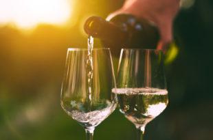 vini, due calici di vino bianco con bottiglia in atto di versare e il sole sullo sfondo