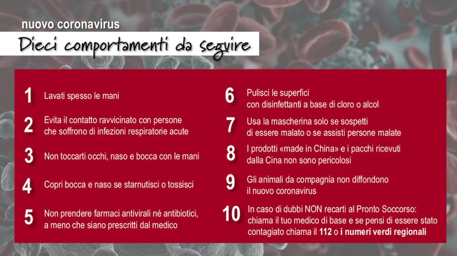 Coronavirus - Dieci comportamenti da seguire