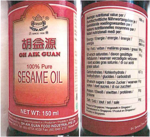 idrocarburi Oh Aik Guan olio di sesamo tostato