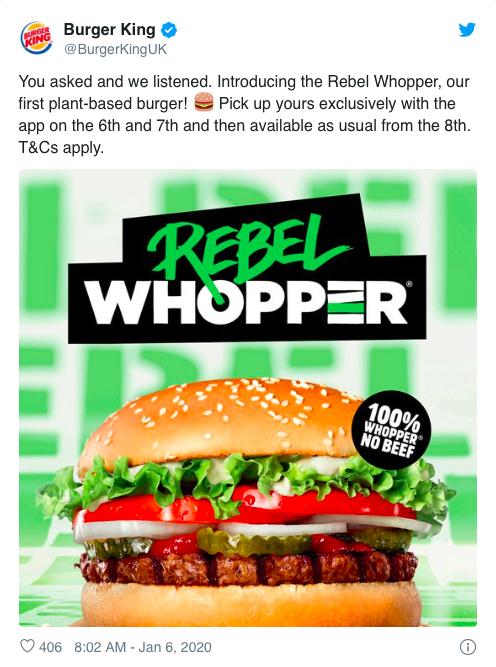 Tweet burger king rebel whopper