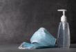 Sanitizer gel or antibacterial soap and face mask for coronavirus preventive measure