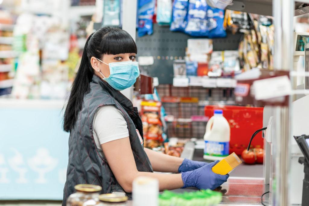 máscara de caixa luvas de caixa de supermercado coronavirus