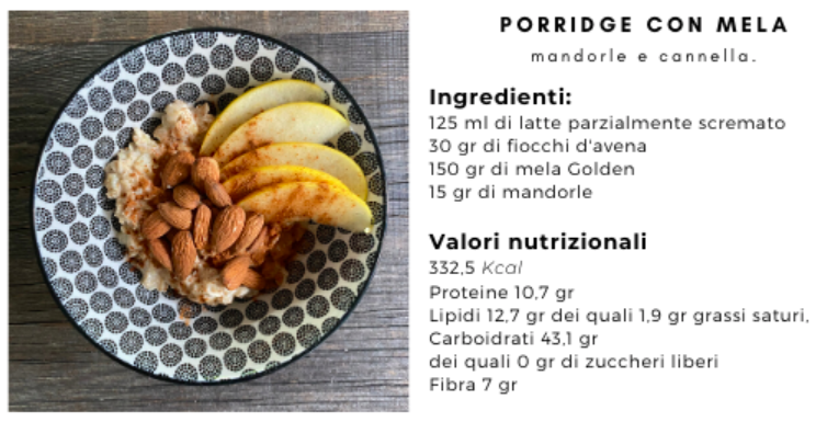 colazione porridge mela mandorle