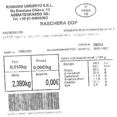 etichetta raschera dop rognoni