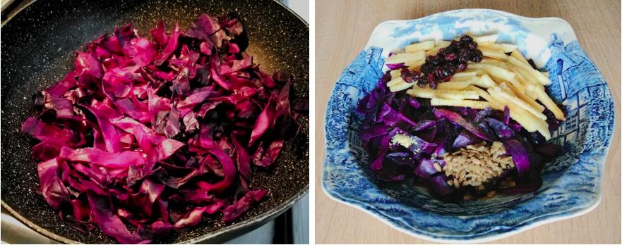 cavolo rosso padella insalata