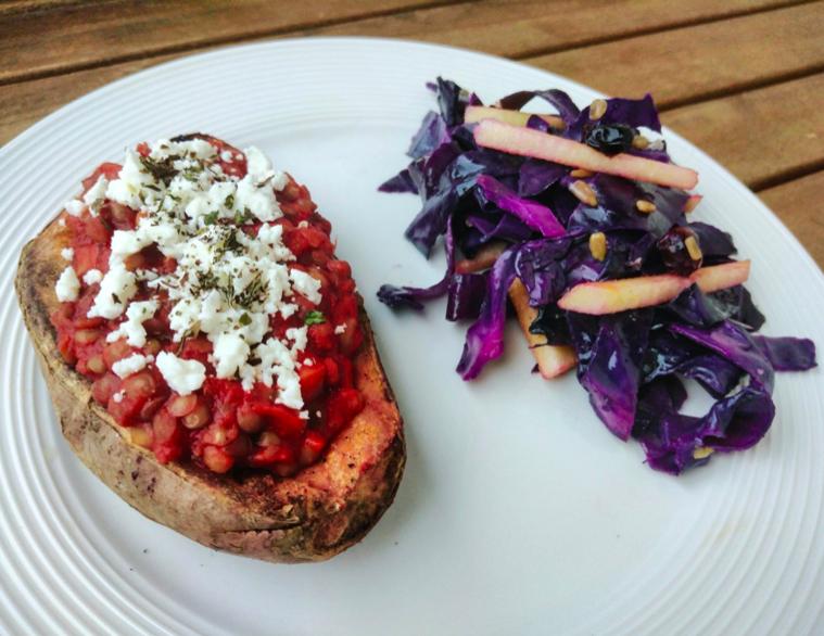 patata dolce lenticchie feta insalata cavolo rosso