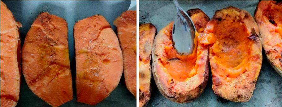 patate dolci tagliate cotto al forno