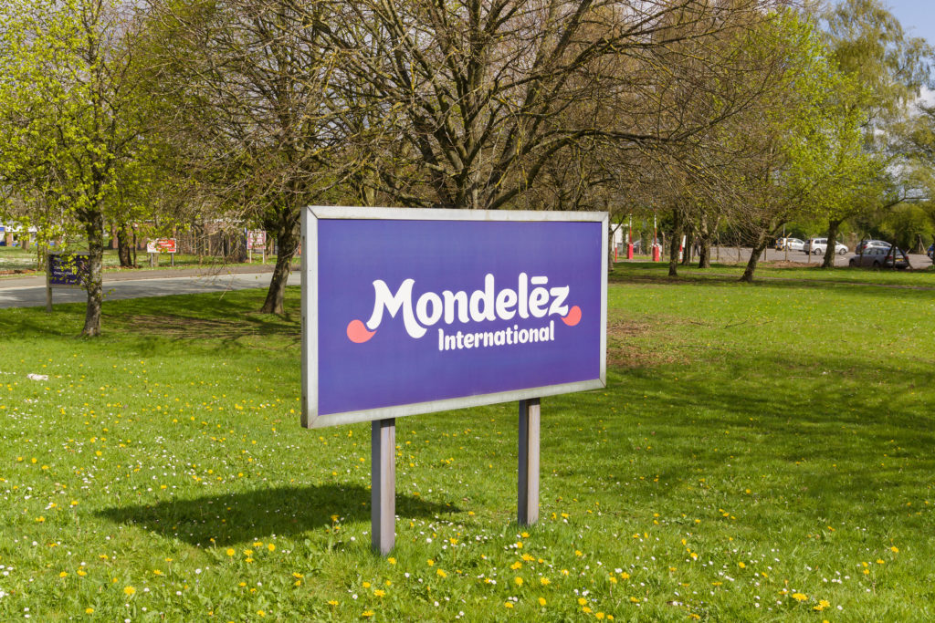 Mondelez International sign outside the cocoa bean processing factory where chocolate is made in the UK