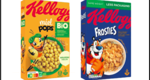 Kellogg's miel pops bio nutri-score frosties packaging