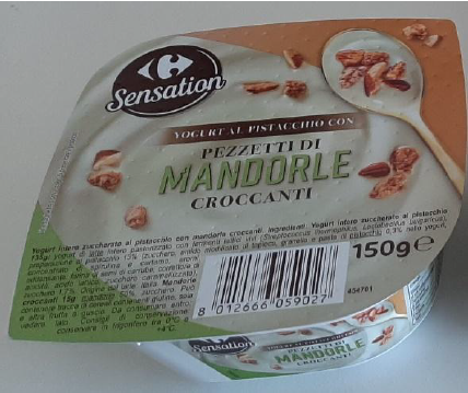 yogurt pistacchio mandorle carrefour sensation