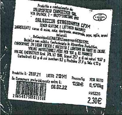 etichetta salsiccia stagionata