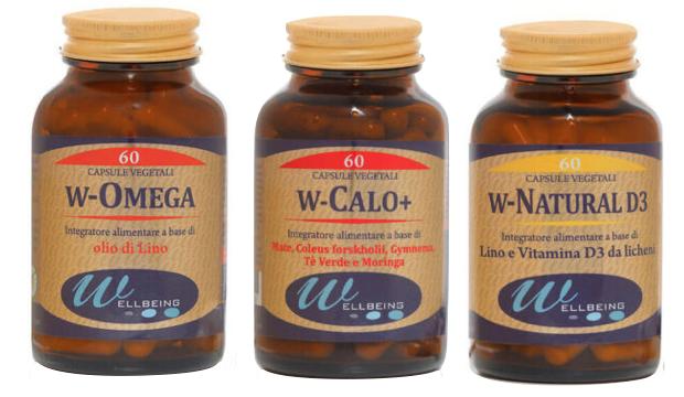 integratori alimentari wellbeing w-omega w-calo+ wnatural d3